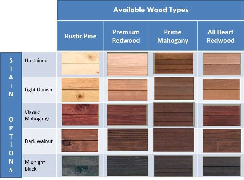 Wood And Stain Options